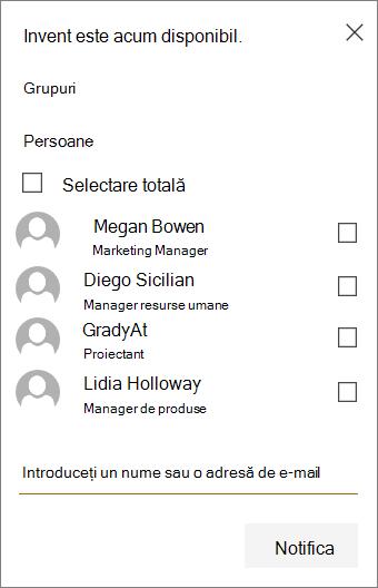 Meniu pentru a selecta grupurile și/sau membrii care să notifice noua încărcare în SharePoint