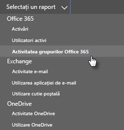 Selectați un raport - grupuri office 365