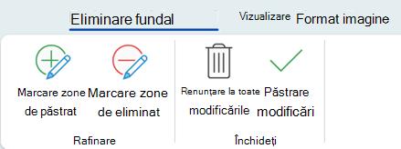 Butoanele Eliminare fundal din fila Instrumente imagine - Formatare din panglică în Office 2016