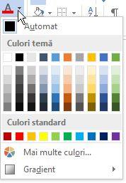 Paletă de culori pentru font