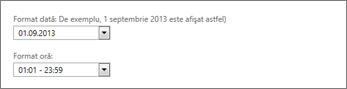 Setare de formatare dată și oră Outlook Web App