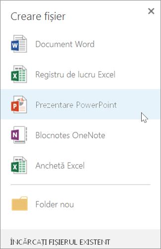 Crearea unei noi prezentări PowerPoint