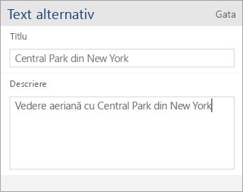 Captură de ecran a casetei de dialog de text alternativ pentru Word Mobile, care conține câmpurile Titlu și Descriere.