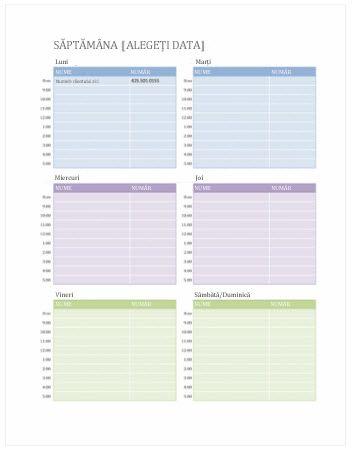 Calendar cu întâlniri săptămânale (Word)