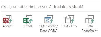 Selecții sursă de date: Access; Excel; SQL Server/Date ODBC; Text/CSV; Listă SharePoint.