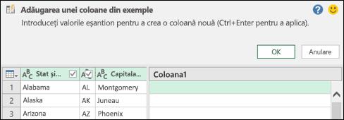 Coloana Combinare în Power Query din exemplul de panou