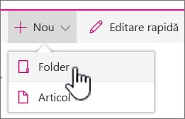 + Nou meniul vertical cu folderul evidențiată