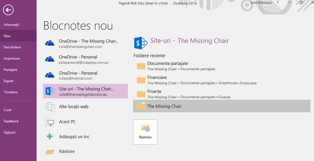 Interfața de selectare a folderului Blocnotes nou din OneNote pentru Windows 2016