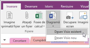 Captură de ecran a butonului Inserare diagramă în OneNote 2016.