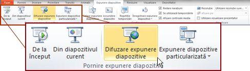 Difuzare expunere de diapozitive, în grupul Pornire expunere diapozitive, pe fila Expunere diapozitive din PowerPoint 2010.