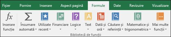 Fila Formule Excel de pe panglică