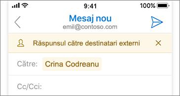 Mesajul de e-mail nou cu avertismentul că destinatarul este extern