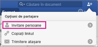 Invitați alte persoane să vizualizeze sau să editeze documentul făcând clic pe Invitare persoane.