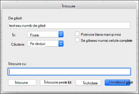 Înlocuirea textului sau a numerelor dintr-un registru de lucru sau dintr-o foaie de lucru, apăsând Ctrl+H