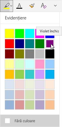 Butonul Evidențiere cu lista verticală afișând culoarea violet închis selectată