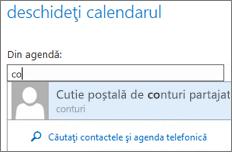 Caseta de dialog Deschidere calendar din Outlook Web App