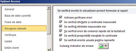 setările de verificare a erorilor disponibile în categoria designeri de obiecte