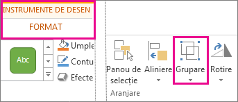 Butonul Grupare pe fila Instrumente de desen - Format