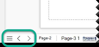 Există trei butoane de navigare în partea stângă a barei de File de pagină, sub pânza de desen.