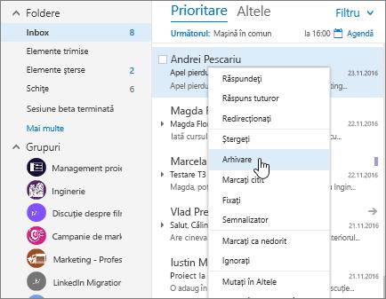 Captură de ecran a inboxului, afișând meniul clic dreapta pe un mesaj, cu Arhiva selectată.