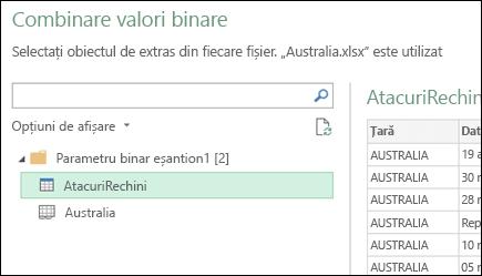 Combinarea binare dialog afișând disponibile foi de lucru Excel pentru a selecta principal consolidarea țintă