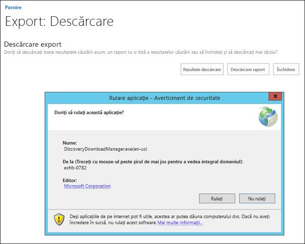Avertisment de securitate pentru eDiscovery Download Manager