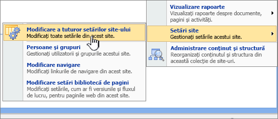 Modificarea tuturor site-ul opțiunea Setări sub Setări site