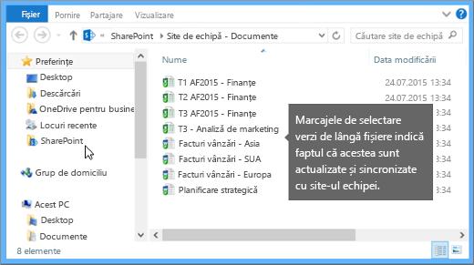 Utilizați Explorer pentru a naviga la fișierul sincronizat de pe desktop. Acesta se află în folderul SharePoint.