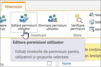 Faceți clic pe Editare permisiuni pentru a modifica nivelul de permisiune
