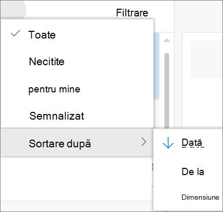 Captură de ecran afișează Sortare după opțiunea selectată din filtrul de control pentru mesajele de e-mail.