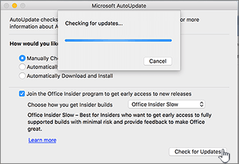 Căutarea de actualizări pentru nivelul Insider lent pe Mac