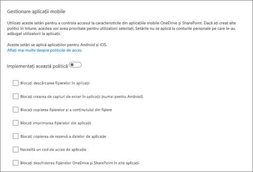 Gestionare aplicații mobile OneDrive și SharePoint, în centrul de administrare OneDrive