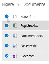 Captură de ecran cu selectarea tuturor fișierelor și folderelor în OneDrive