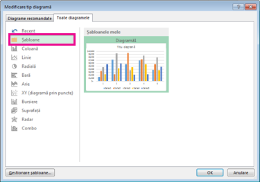 The Templates folder on the All Charts tab in the Insert Chart dialog box