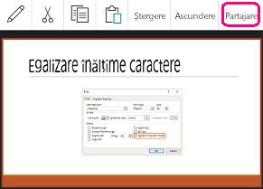 Comanda Partajare din PowerPoint pentru Android