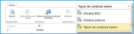 Captură de ecran a selecției de vizualizări pentru vizualizările catalogului de date BCS.