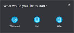 Accesați mai multe informații despre meniul prezentare pentru a adăuga o tablă albă, sondaj sau fereastra manager întrebări și răspunsuri