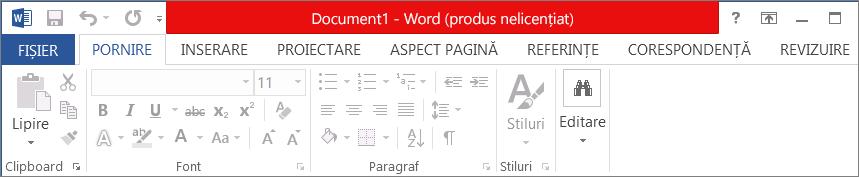 Afișează Produs nelicențiat în bara de titlu roșie, în interfața dezactivată și în bannerul de mesaje
