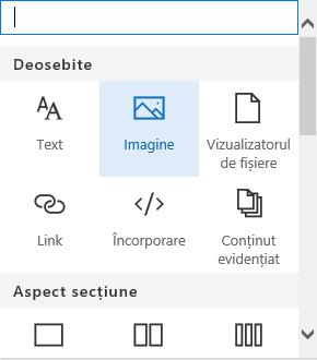 Captură de ecran a selectării părții web Imagine în SharePoint.