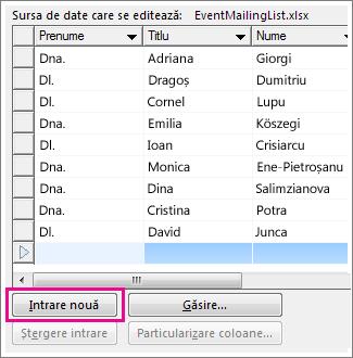 Caseta Editare sursă de date