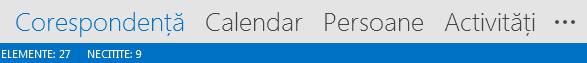 Fila Persoane se află în partea de jos a ecranului Outlook.