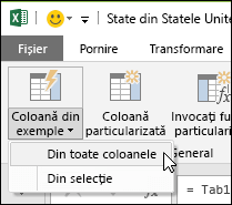 Coloane Combinare în Power Query din exemplul de opțiune din fila Adăugare coloană