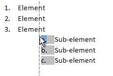 Faceți clic pe elementul din listă pentru a evidenția lista și a o glisa la o locație nouă