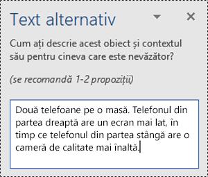 Panoul text alternativ cu un exemplu de text alternativ în Word pentru Windows.