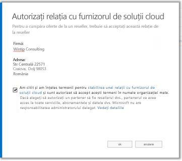 Acceptați relația cu furnizorul de soluții cloud.