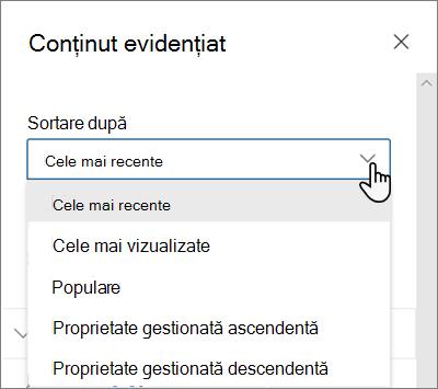 Opțiunile Sortare după pentru partea Web conținut evidențiat în experiența SharePoint modernă