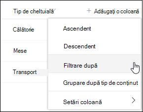 Opțiunea filtru de antet de coloană SharePoint în funcție de meniu