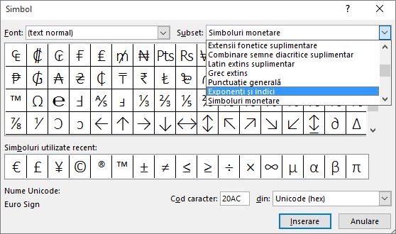 Afișează subsetul Indice și Exponent în caseta de dialog Simbol din PowerPoint