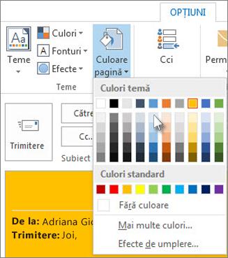 Modificarea culorii de fundal