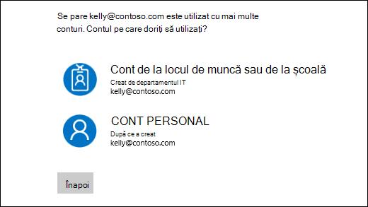 Conectați-vă din ecranul cu două adresele de e-mail
